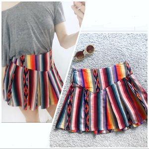 Parker Aztec multi color striped mini skirt